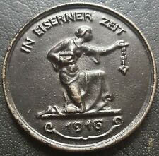 ✚8709✚ German WW1 Gold Donation Commemorative Iron Medal 1916 IN EISERNER ZEIT