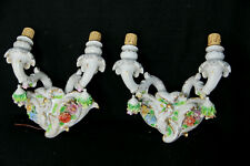 PAIR Italian capodimonte porcelain majolica relief flowers wall lights sconces