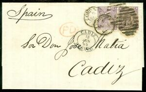 EDW1949SELL : GREAT BRITAIN 1865 Choice Folded letter to Spain w/ pair of Sc #45