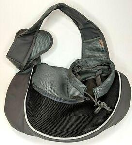Yudodo Pet Dog Sling Black Breathable Mesh Travel Safe Sling Bag Carrier S/M