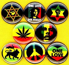 Bob Marley x 8 NEW 1 inch pins buttons badges reggae one love peace