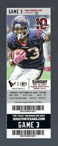 RODGERS 6 TOUCHDOWNS - 2012 NFL GREEN BAY PACKERS @ TEXANS FULL FOOTBALL TICKET