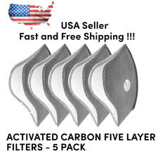 Activated Carbon Filters Cycling Sport Face Mask 5-pack