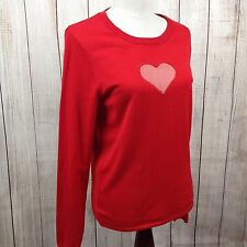 H & M Divided Large Women's Long Sleeve Shirt Blouse Heart Red Keyhole Sweater