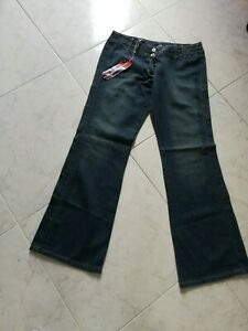 Jeans donna a palazzo a zampa vita bassa vintage big brand