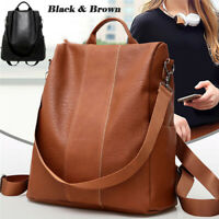 UK Women Leather Backpack Anti-Theft Rucksack School Shoulder Bag Black/Brown