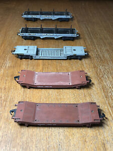 FIVE Hornby Dublo Flat Bed Wagons - BOGIE BOLSTER, WELTROL, LOWMAC - OO VGC