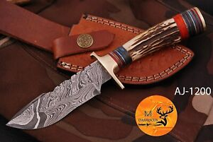 HAND FORGED DAMASCUS STEEL SKINNER HUNTING KNIFE WITH STAG HANDLE - AJ 1200