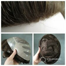 Skin Front Mens Hairpieces Hair Replacement System Mono Base Toupee #4 Brown