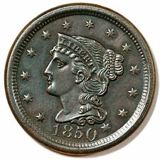 1850 N-1 R-2 EDS Braided Hair Large Cent Coin 1c