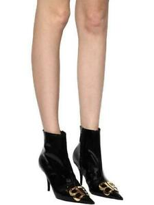 Balenciaga Black Patent Leather Gold BB Ankle Boots/Shoes EUR 37.5/US 7 $1490