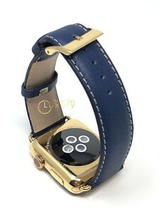 24K GOLD Plated 42MM Apple Watch SERIES 3 Blue Plain Leather Band