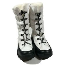 Weatherproof Brand Rain And Snow Boots Size 7 M Lace-up White Black Faux Fur
