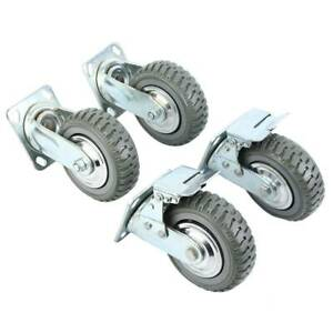 "4PCS 6"" Heavy Duty Industrial Polyurethane Rubber Caster Safety Brake Wheels"