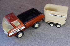 Vintage Steel Tonka Stables Pickup Truck and Horse Trailer Orange Flake Farm 70s
