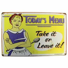 TODAYS MENU TAKE IT OR LEAVE IT Retro Metal Kitchen Wall Door Plaque Sign UK