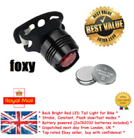 Bike Tail Light ''Foxy'' Scooter eBike Red Rear Bicycle New UK LED Flash Battery