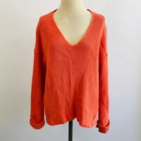 Free People Slouchy Ribbed Knit Exposed Seam V-Neck Sweater Coral Pink Medium M