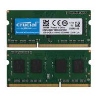 4GB Crucial 2X 2GB RAM PC3L 12800S 1RX8 DDR3 1600MHz Laptop Notebook Memory #N