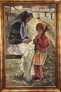 painting landscape socrealism figurative genre Leonard Slavov Children old art