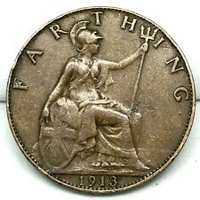 Great Britain, 1 Farthing, 1913- Bronze, KM#808.1, George V ,Excellent !