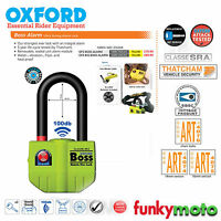 OXFORD THATCHAM APPROVED BIG BOSS ALARM 16MM MOTORCYCLE SHACKLE U LOCK 100dB