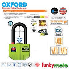 OXFORD BOSS ALARM 16MM SHACKLE U LOCK 100dB THATCHAM APPROVED MOTORBIKE SECURITY