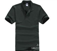 Hot Men's New Fashion Short Sleeve Polo Collar Work T-shirt Cotton Shirt Tops GW
