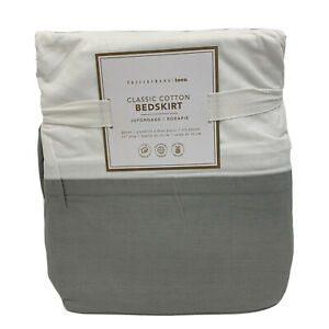 Pottery Barn Teen Classic Cotton Bedskirt Queen Light Gray Open YELLOW MARKS REA