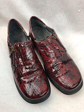Helle Comfort Spain Women's Golf Shoe Leather Snake Embossed Red Romu Sz 37 Us 7