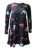 New Womens Long Sleeve Floral Print Flared Skater Ladies Swing Dress Plus Sizes