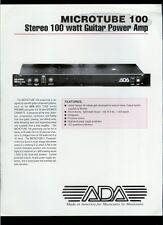 Rare Orig Factory ADA MICROTUBE 100 Guitar Stereo Power Amp Dealer Sales Sheet