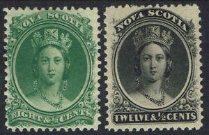 NOVA SCOTIA 1860 QV 8½C AND 12½C ON YELLOWISH PAPER