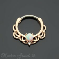 OPAL CENTRED 14K ROSE GOLD IP NOSE SEPTUM CLICKER HOOP EAR RING EARRING