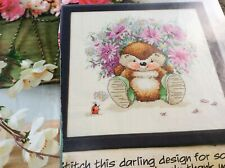 Country companions Ed Hedgehog bunch of flowers cross stitch chart only / 1883