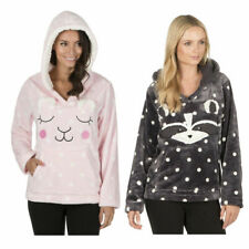 Womens Ladies Novelty Pyjama Top Flannel Sherpa Fleece Animal Hooded Bed Jacket