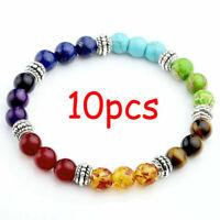 10 pcs Unisex Chakra 7 Stone Yoga Healing Beaded Gemstone Bracelets Wholesale