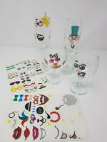 Party Faces Foil Glass Stickers Wine Bottle Decal Vinyl Arts Christmas Kids Fun