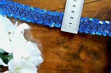 SEQUIN Braid Rayon Lace Edge ROYAL BLUE 28mm wide 3 Metre Length Sunrise 1571
