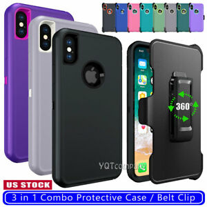 For iPhone X XR XS 11 Pro Max Shockproof Armor Case Heavy Duty Belt Clip Holster