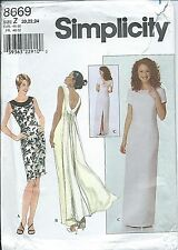 S 8669 sewing pattern DRESS scoop back opt Drape sew Elegant GOWN sizes 20,22,24