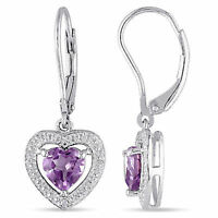Sterling Silver Amethyst and Diamond Accent Drop Dangle Heart Leverback Earrings