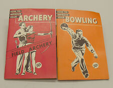 2 Vintage 1940s-1950s  How To Improve Your Archery and Bowling Books.  Mint Cond