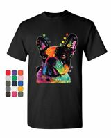 French Bulldog T-Shirt Dean Russo Neon Multicolor Art Dog Lovers Mens Tee Shirt