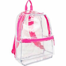 Clear Backpack Transparent Pink Trim Security Book Bag Travel School Events