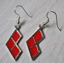 925 Silver Plt Harley Quinn Diamond Shape Earrings, Ladies Girls Gift Batman DC