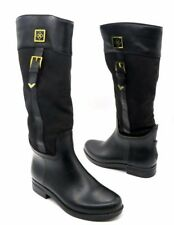 DAV Size 7 Black Leather Gold Hardware Rubber Sole Riding Boots