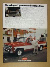 1978 GMC Sierra 15 Diesel Pickup red white truck gas station photo vintage Ad