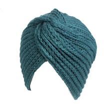 New Qhome Womens Cross Twist Knit Beanie Headwrap Turban Teal Blue FREE SHIPPING
