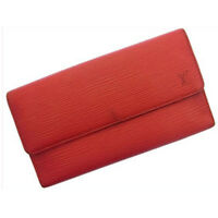 Louis Vuitton Wallet Purse Trifold Epi Red Woman Authentic Used F004